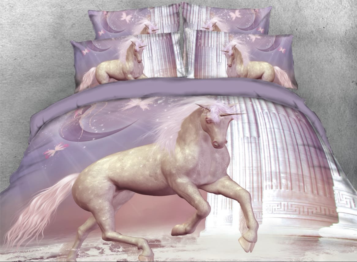 Running Unicorn with Columns Printed 3D 4-Piece Bedding Sets/Duvet Covers