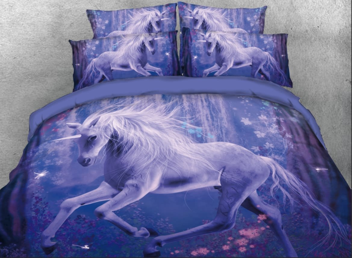 Unicorn in Woods Printed 4-Piece 3D Bedding Sets/Duvet Covers