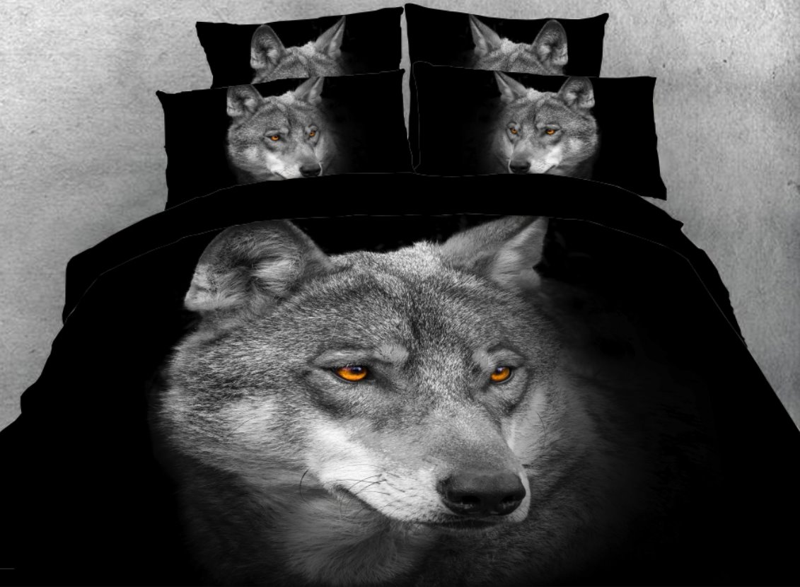 Cool Wolf Printed 4-Piece 3D Black Bedding Sets/Duvet Covers