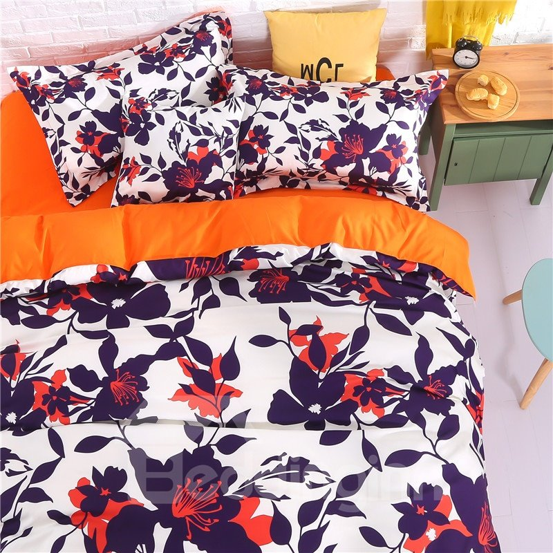 Adorila 60S Brocade Autumn Floral Silhouette Pattern 4-Piece Cotton Bedding Sets/Duvet Cover
