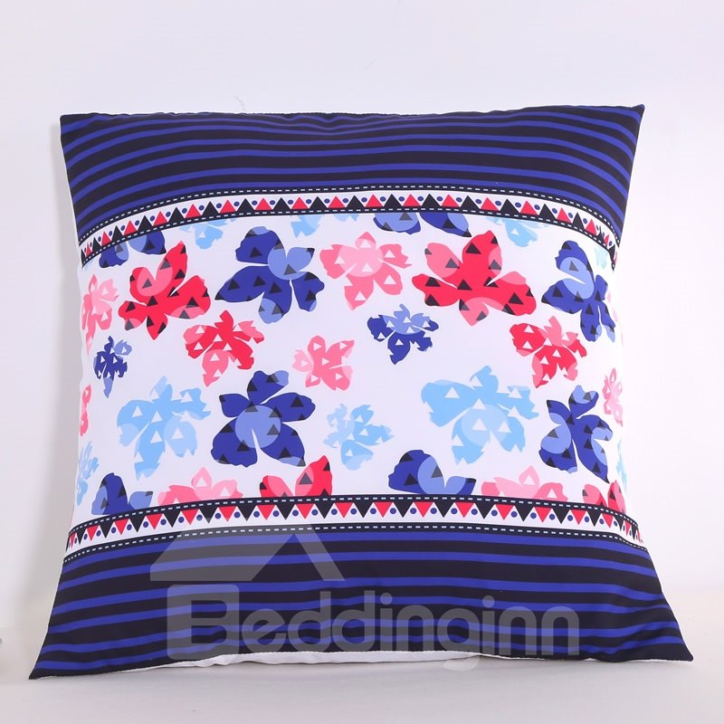 Colorful Floral Silhouette Pattern Decorative Square Polyester Throw Pillowcases