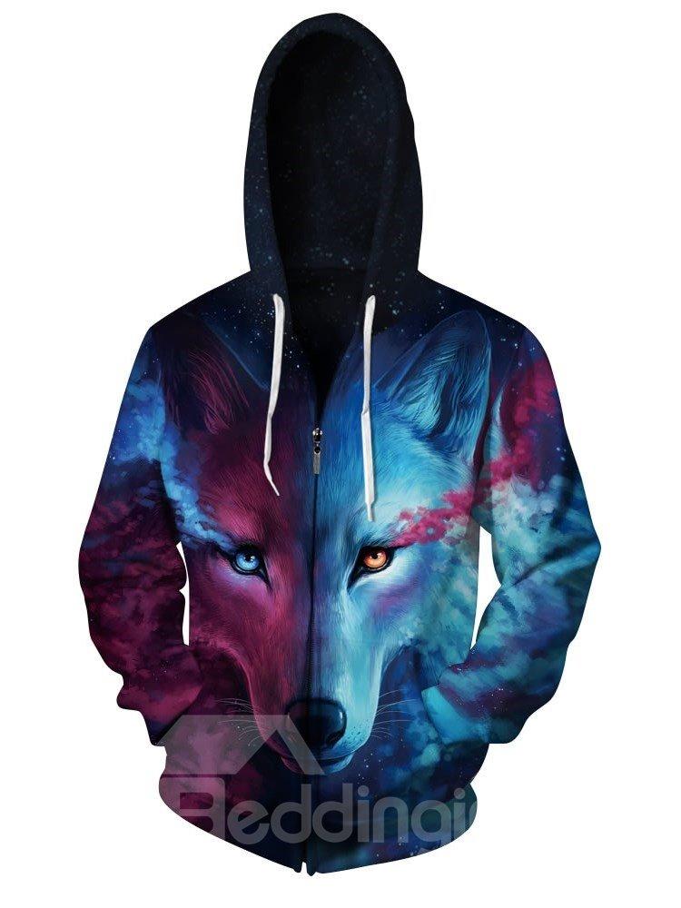 3D Blue Wolf with Tear Pattern Men Sweater Long Sleeve Zipper Cool Hoodies