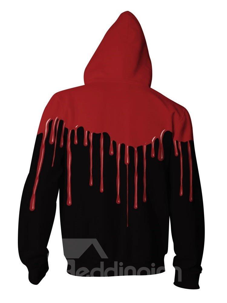 3D Red Falling Black Back Pattern Men Sweater Long Sleeve Zipper Cool Hoodies