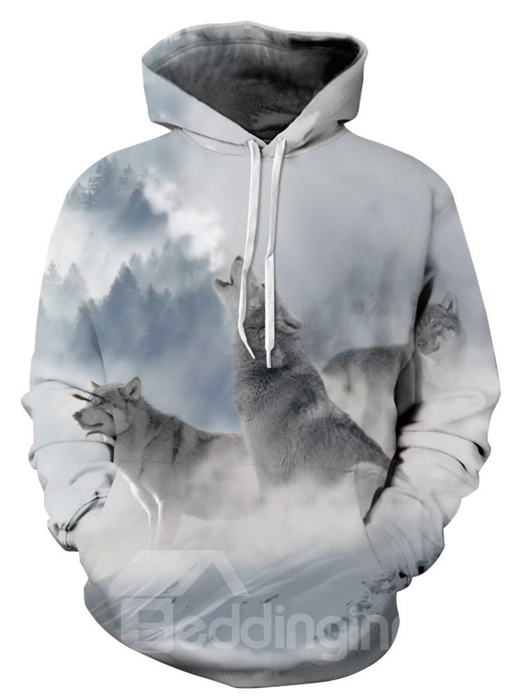 2d3688ed0f60 Long Sleeve Wolves Snow Mountain Pattern 3D Painted Hoodie ...