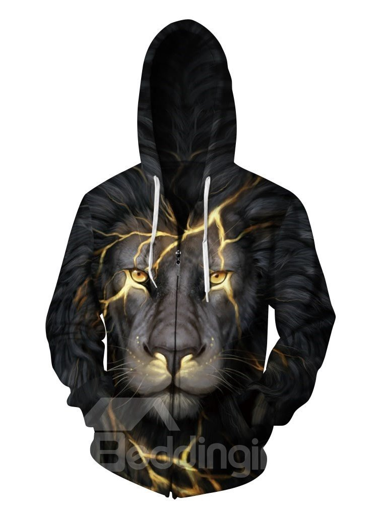 3D Lion with Gold Light Pattern Men Sweater Long Sleeve Cool Hoodies