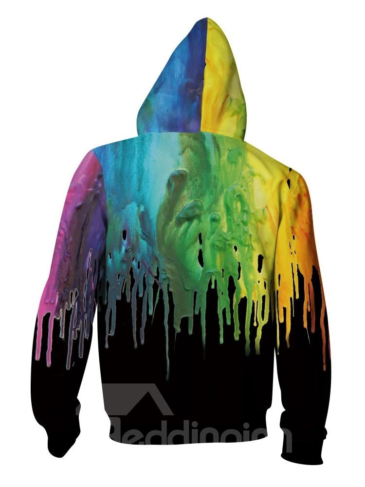 3D Black Back Colorful Paint Pattern Men Sweater Long Sleeve Zipper Cool Hoodies