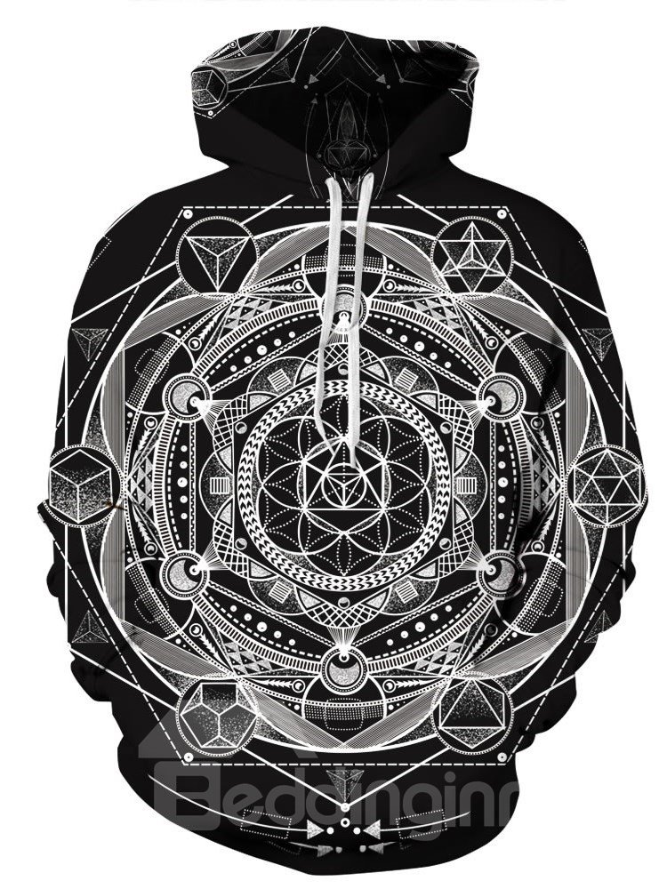 3D Structural Pattern Men Sweater Long Sleeve Cool Hoodies
