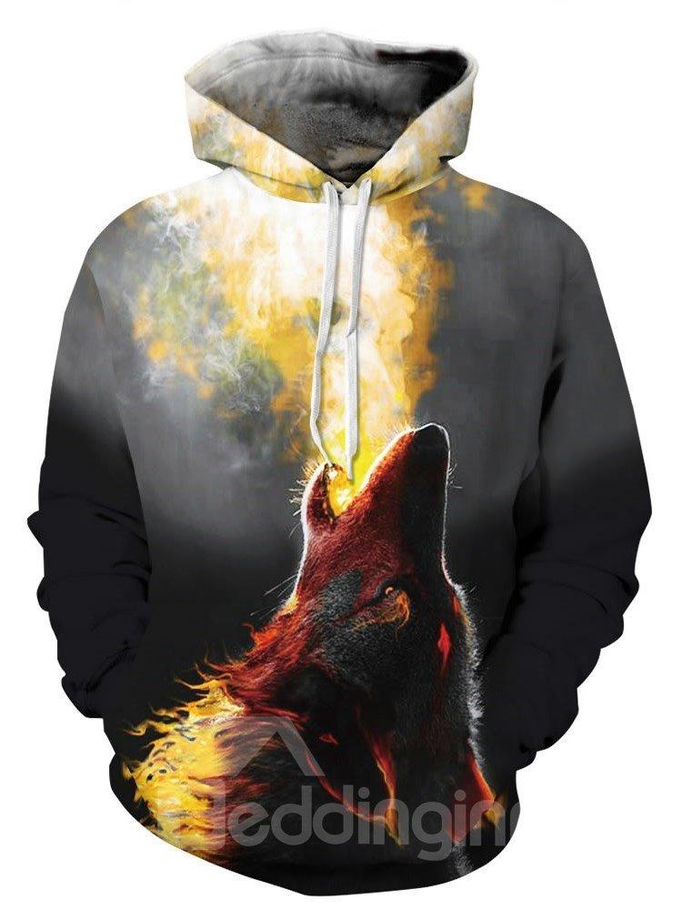 Long Sleeve Roar Wolf Pattern 3D Painted Hoodie