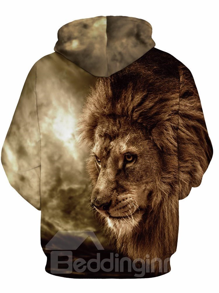 Long Sleeve Lion in the Forest Pattern 3D Painted Hoodie