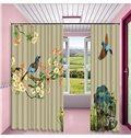 3D Outstanding Oil Painting Birds on the Branches Printed 2 Panels Living Room Curtain