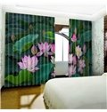 3D Vivid Lotus Leaves and Flowers Printed Pastoral Style 2 Panels Custom Living Room Curtain