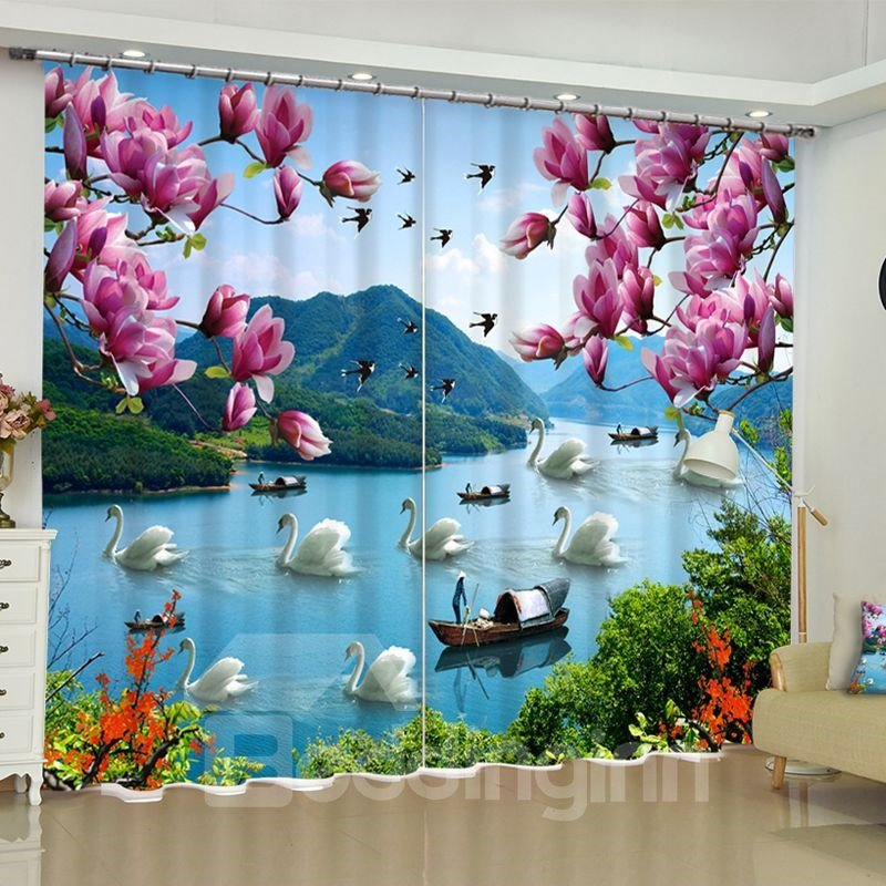 Fresh Pink Peach Flowers and White Gooses in the River Printed Custom Living Room Curtain