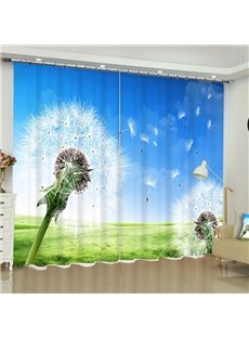 3D Flying Dandelions and Green Grassland with Blue Sky Printed 2 Panels Window Drape