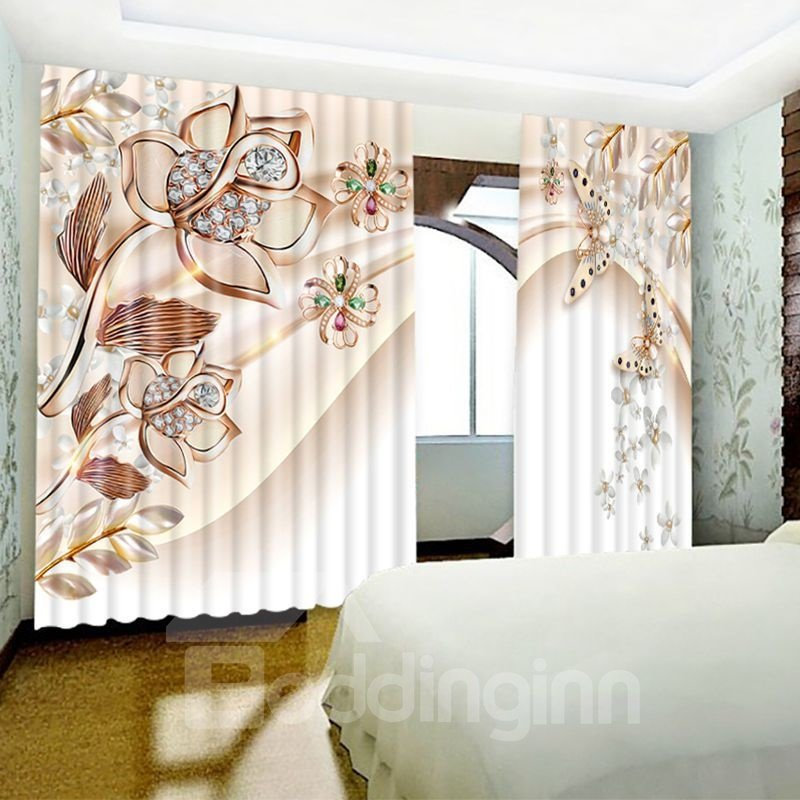 3D Bright Crystal Flowers and Butterflies Printed 2 Panels Living Room Window Curtain