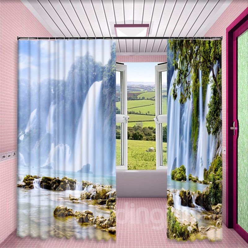Rolling and Plunging Waterfalls Printed Natural Scenery Living Room Curtain