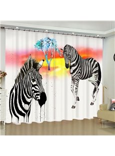 Strong Zebras Printed 2 Panels Living Room and Bedroom Blackout 3D Curtain