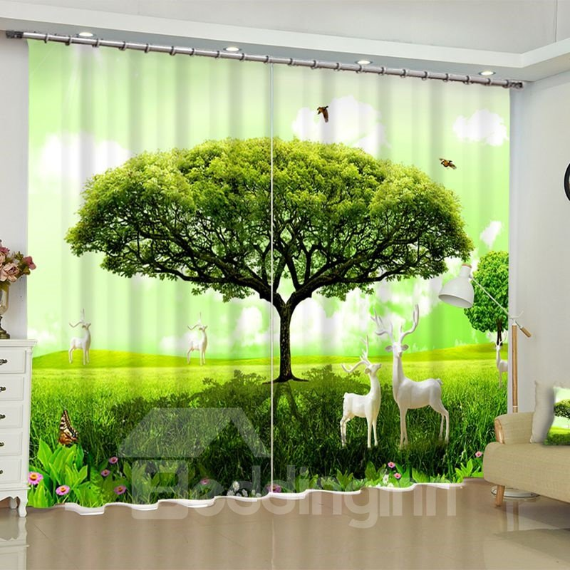 3D Green Tree and Grassland with Birds and Deer Printed Bedroom Blackout Curtain