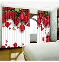 3D Romantic and Fresh Red Roses Custom Living Room and Bedroom Curtain