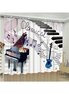 3D Piano and Guitar Printed Romantic Style Polyester Custom Living Room Curtain