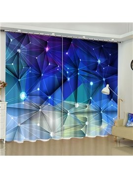 3D Unique Blue Geometry Crisscross Printed Modern Style 2 Panels Custom Curtain