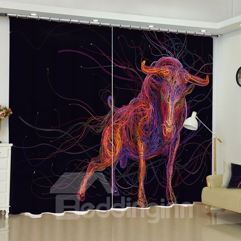 3D Unique and Colorful Lines Bull Printed 2 Panels Living Room Curtain