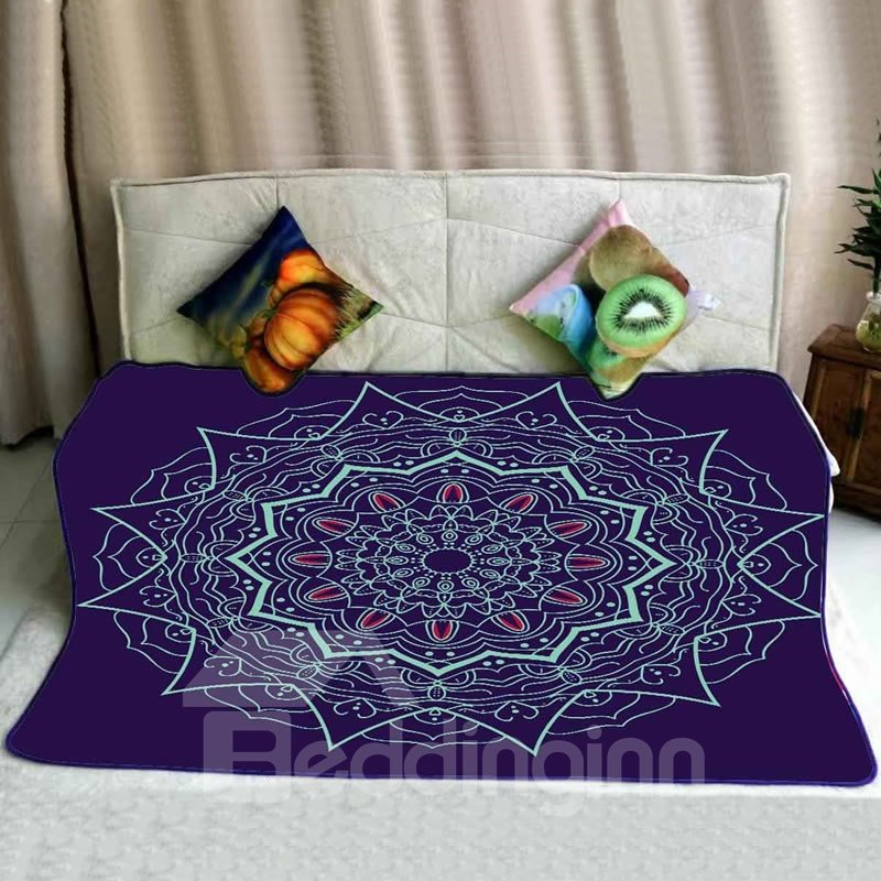 Chic Floral Mandala Pattern Royal Blue Flannel Bed Blankets