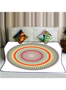 Colorful Circles Pattern Plush Flannel Soft Bed Blankets