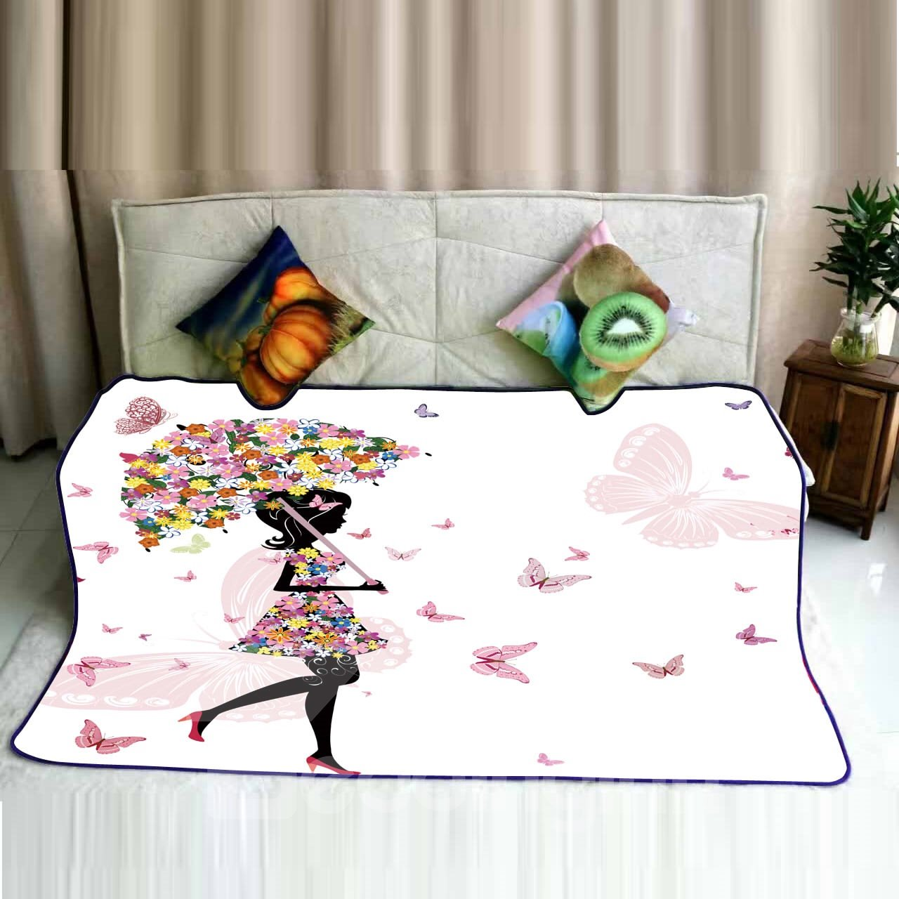 Floral Butterfly Girl with Umbrella Pattern Flannel Bed Blankets