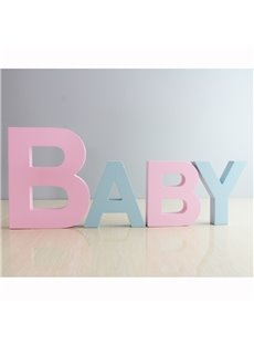 Wood HAPPY BABY Decorative Sign Standing Cutout Word Decor Multicolor