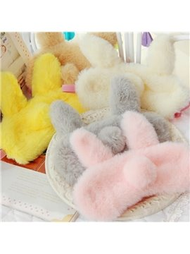 Travel Rabbit Furry Sleeping Eye-Shade Blindfold Nap Cover Eye Mask