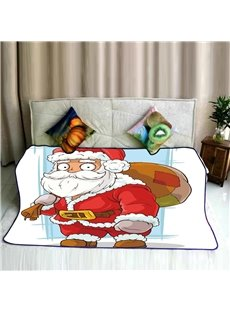 Santa Claus and Bag of Gifts Pattern Flannel Bed Blankets