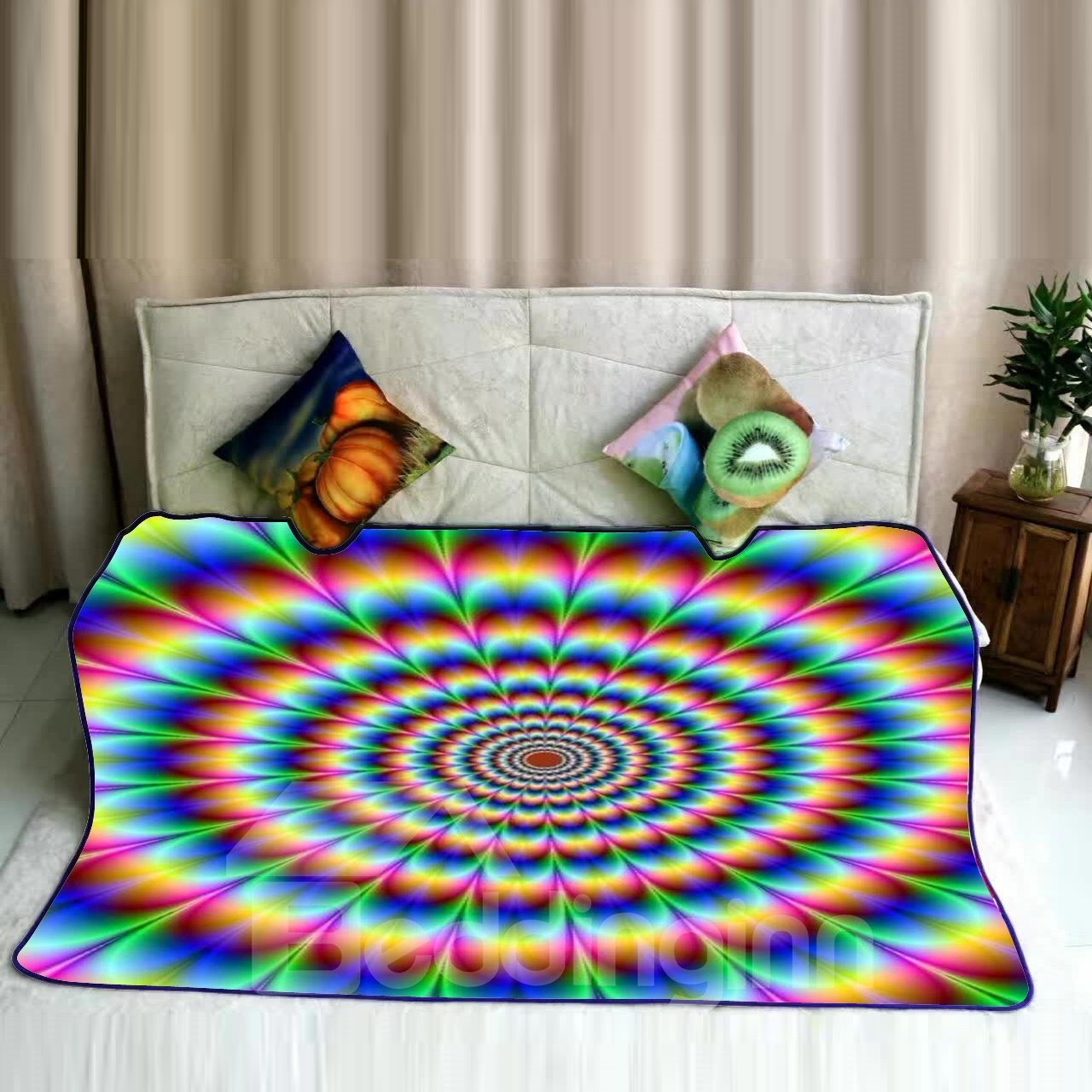 Colorful Floral Dizzy Mandala Pattern Flannel Bed Blankets