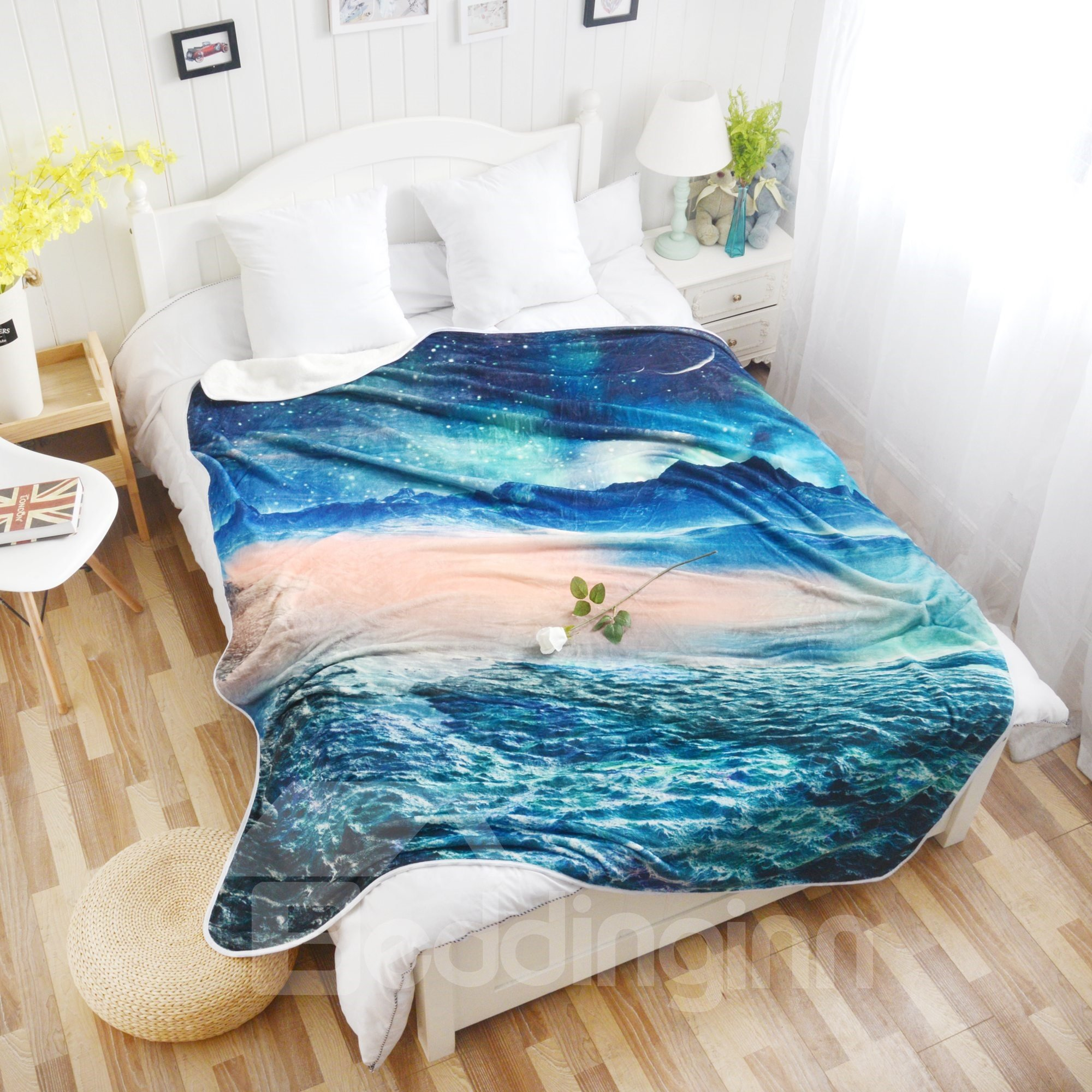 Magical Ocean and Stars Pattern Flannel Bed Blankets - beddinginn.com 1a55054b2
