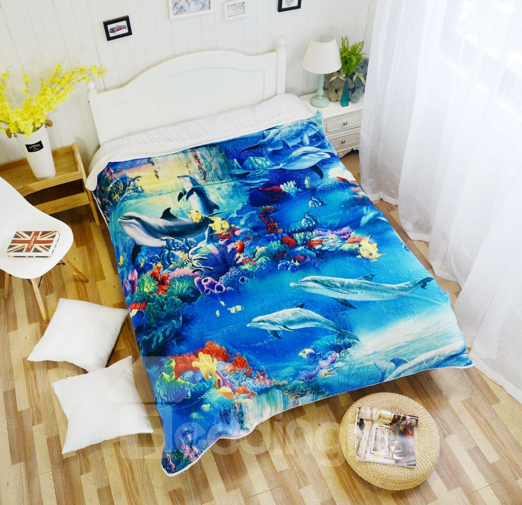 Underwater World and Dolphins Pattern Super Soft Flannel Blankets