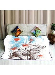 Elephant Having Fun in Forest Pattern Flannel Bed Blankets