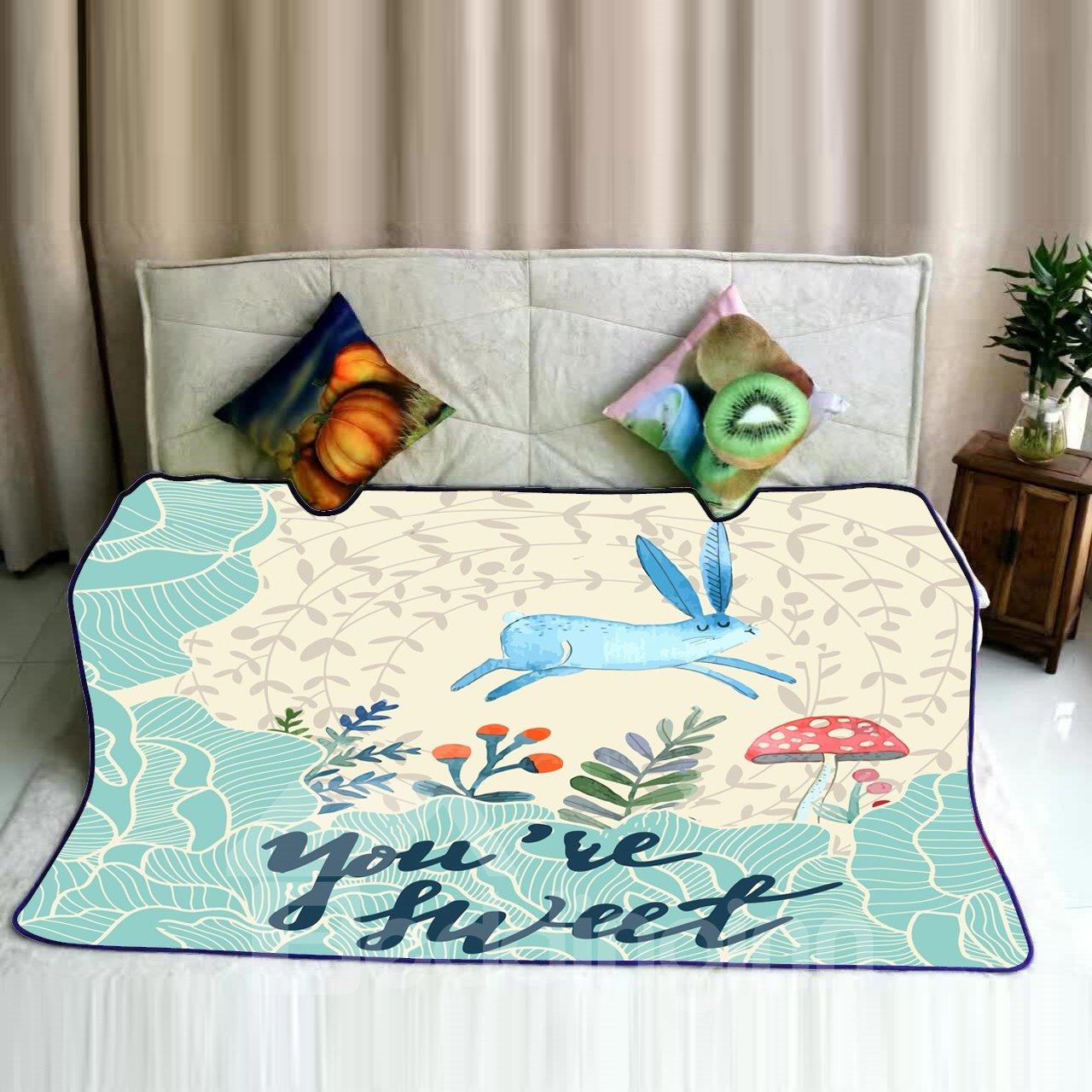 Cartoon Blue Rabbit Jumping and Mushroom Pattern Flannel Bed Blankets