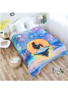 Mermaid and Colorful Galaxy Sky Pattern Flannel Bed Blankets
