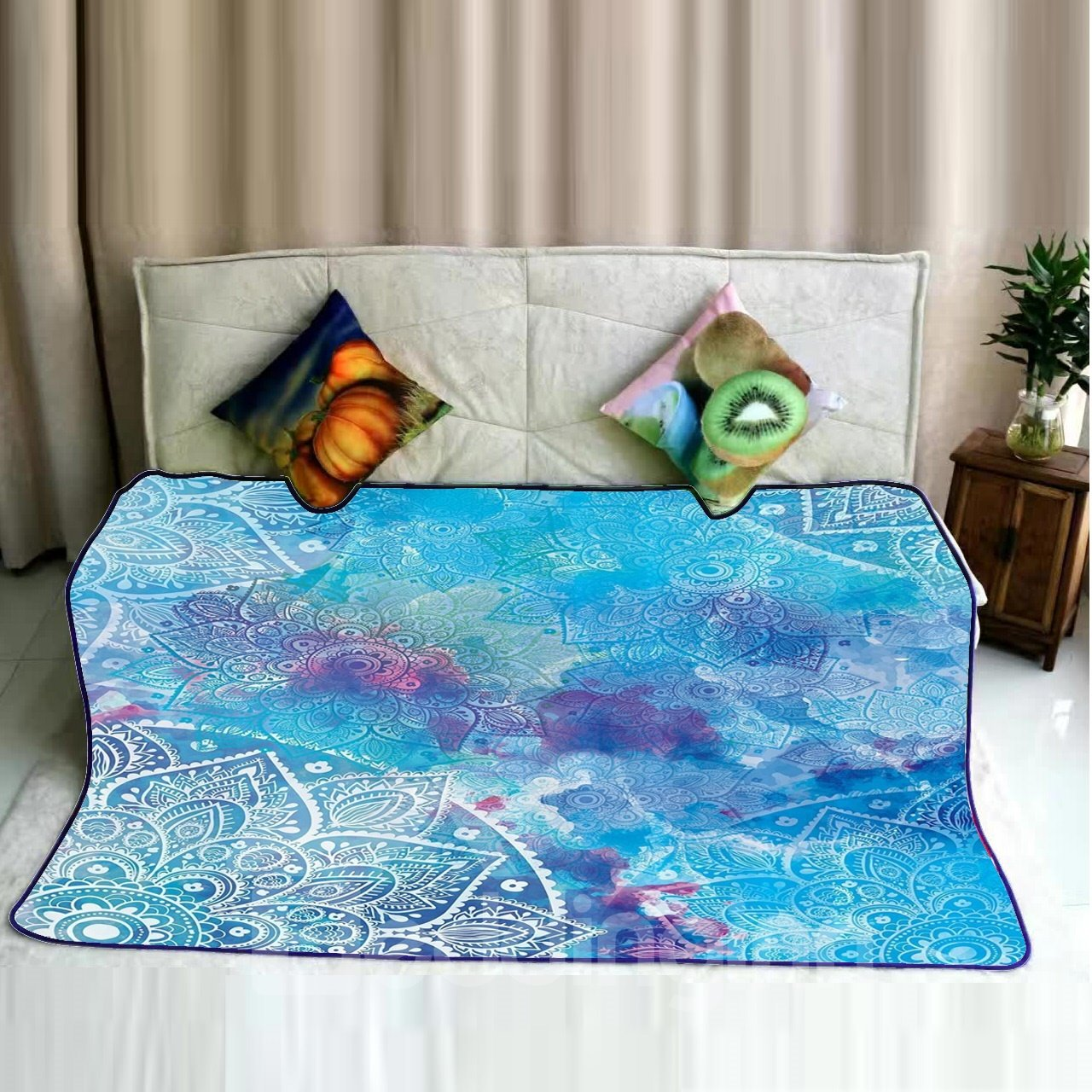 Water Painting Mandala Pattern Blue Flannel Super Soft Bed Blankets