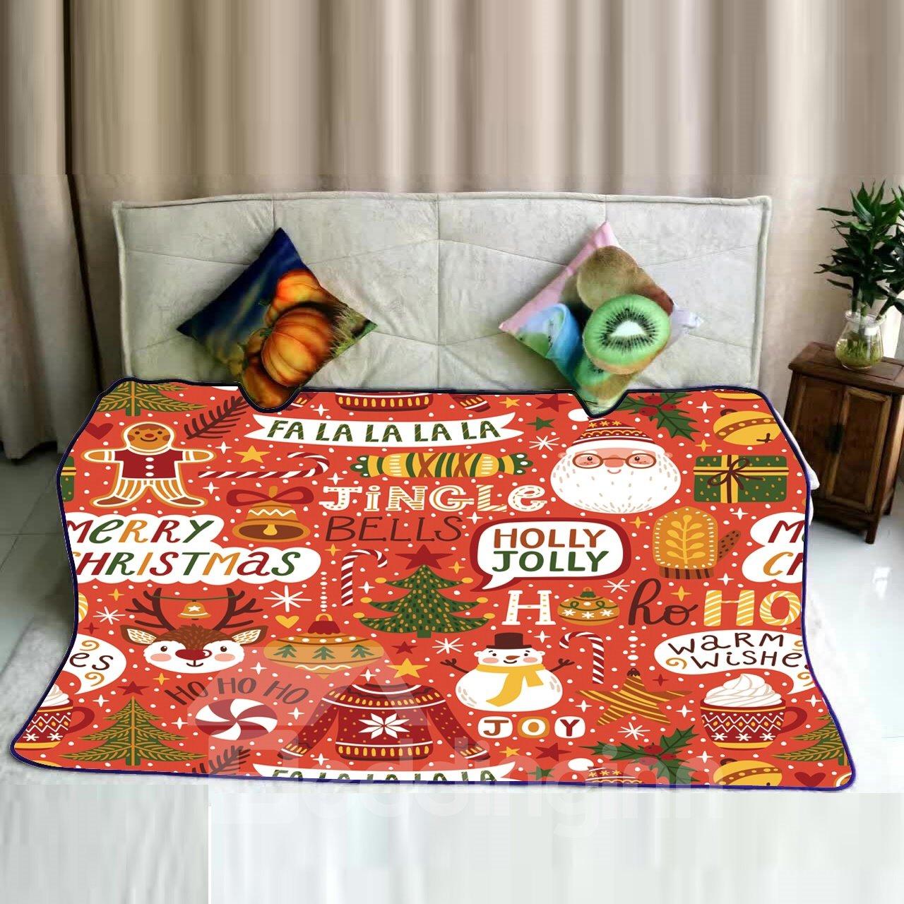Merry Christmas Jingle Bells Celebration Pattern Flannel Bed Blankets