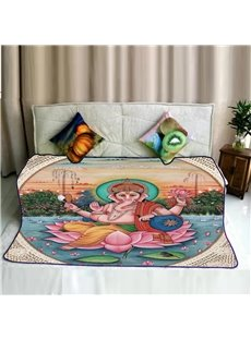 Elephant Nose Figure of Buddha Pattern Flannel Bed Blankets