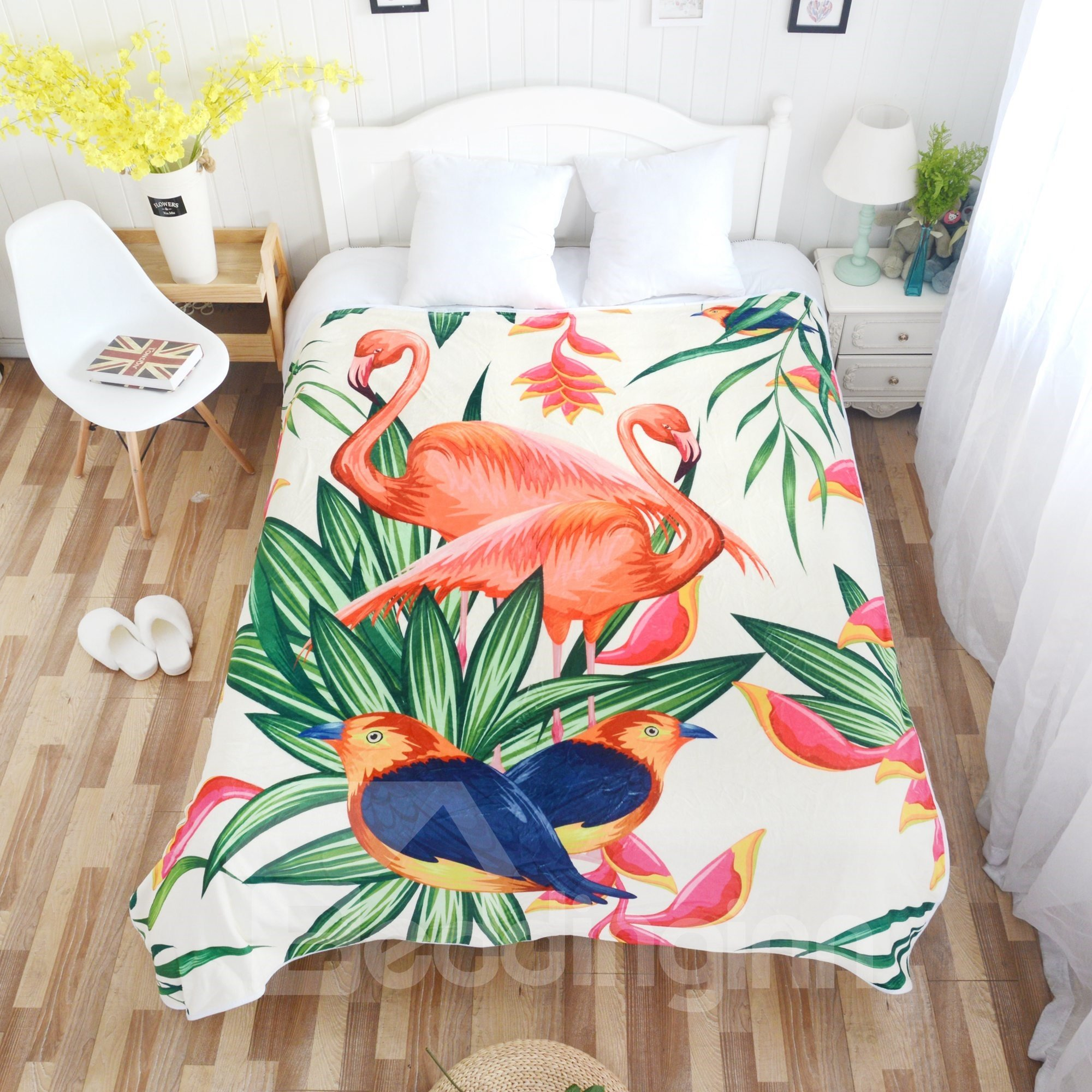 Tropical Flamingos and Birds Pattern Super Soft Flannel Bed