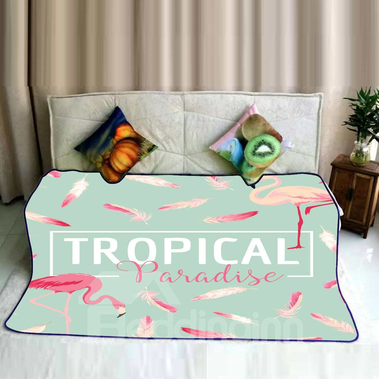Tropical Paradise with Flamingos Pattern Super Soft Flannel Bed
