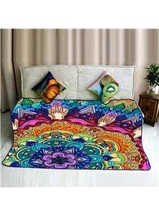 Floral Mandala Pattern Ethnic Style Flannel Super Soft Bed Blankets