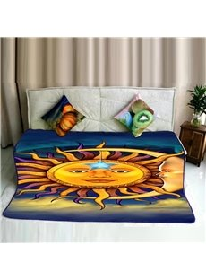 Yellow Sun Face Galaxy Pattern Flannel Bed Blankets