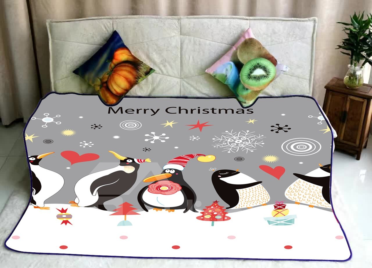 Merry Christmas Penguin Family Celebrating Happy New Year Flannel Bed Blankets