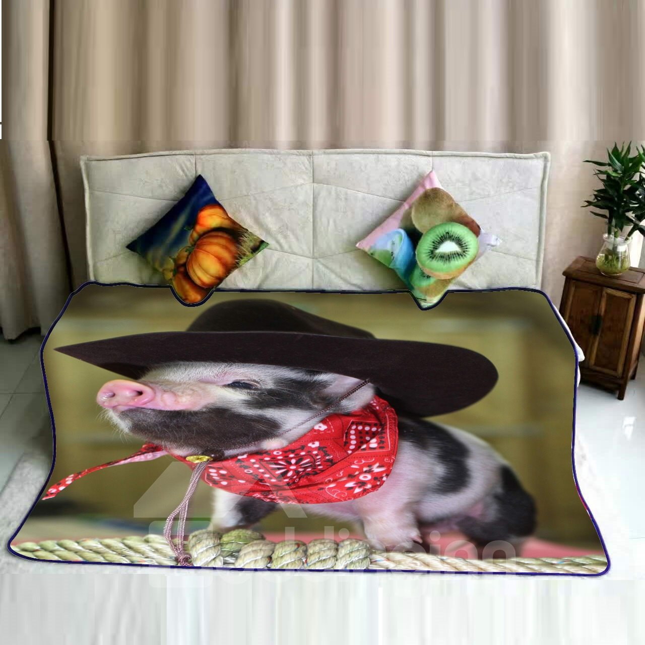 Gentleman Pig with Hat and Scarf Pattern Flannel Bed Blankets