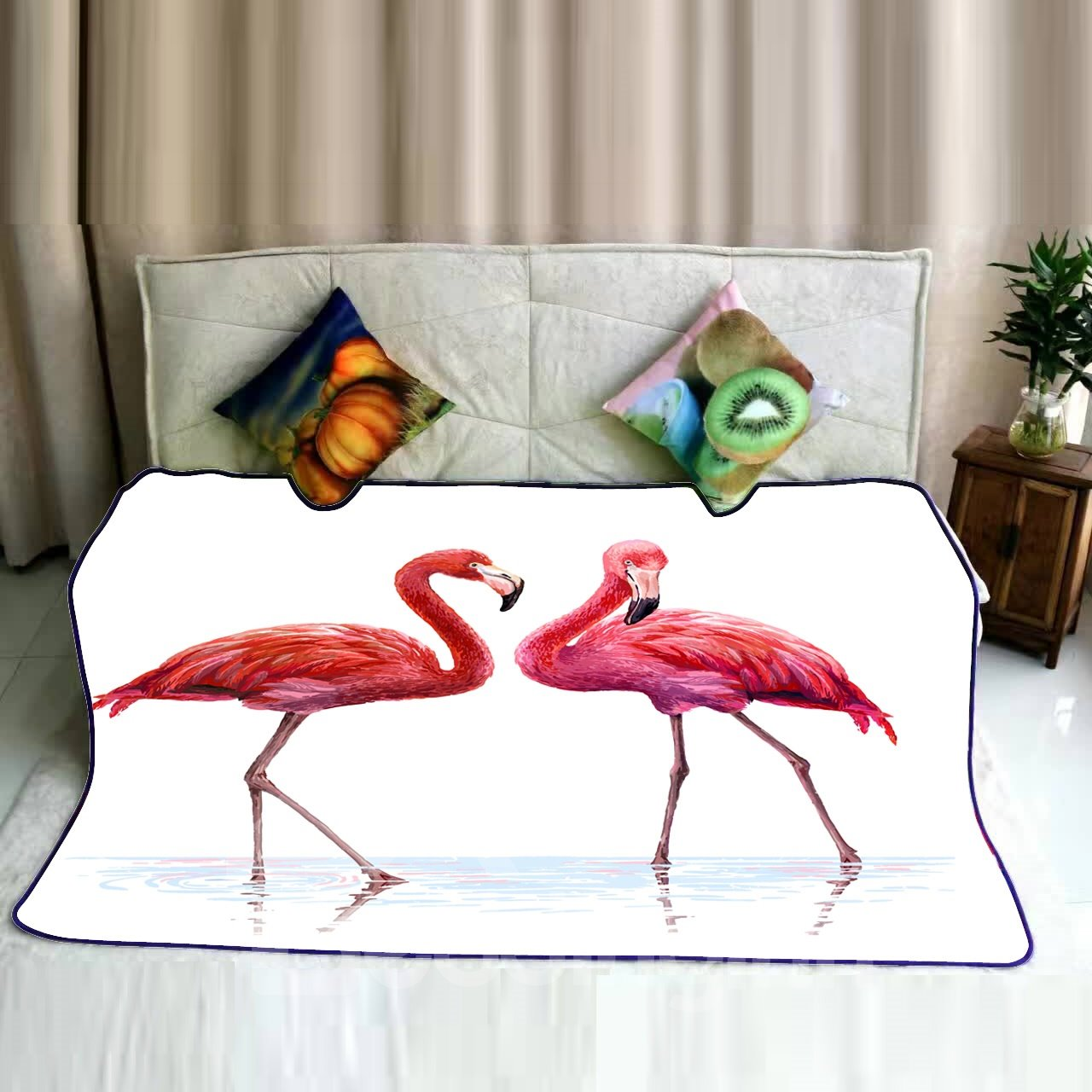 Red Flamingo Couple in Water Pattern Flannel Bed Blankets ... 6ccb775a8
