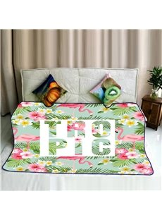 Flamingos and Tropical Plants Pattern Fresh Style Flannel Bed Blankets