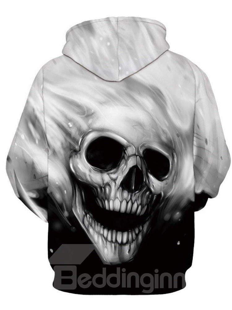 Unique Long Sleeve Grey Skull Pattern 3D Painted Hoodie