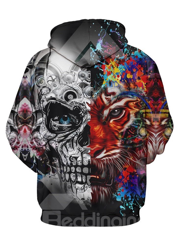 Cool Long Sleeve Tiger Skull Face Pattern 3D Painted Hoodie